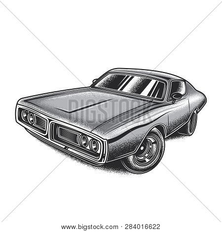 Monochrome Vector Illustration In Vintage Style American Muscle Car