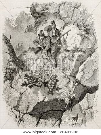 Chamois hunters old illustration. Created by Freeman, published on Magasin Pittoresque, Paris, 1845 poster