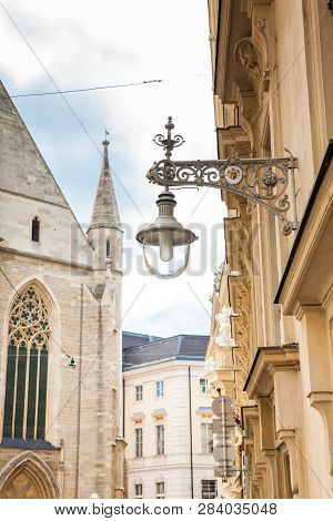 Beautiful Street Lamp And Architecture Of The  Innere Stadt Of Vienna