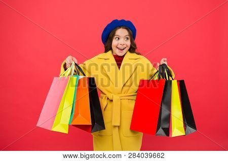 Customer Satisfaction. Prime Time Buy Spring Clothing. Obsessed With Shopping. Girl Cute Kid Hold Sh