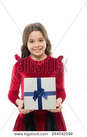 Art Of Making Gifts. Birthday Wish List. Happy Birthday Concept. Girl Kid Hold Birthday Gift Box. Ev