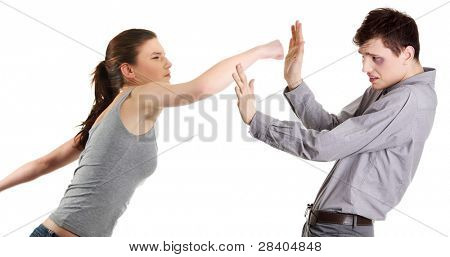 Attractive young couple fighting. Women hitting a men. Isolated on white background.