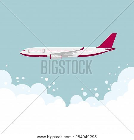 Drawing Of A Large Passenger Plane,in Mid-air.