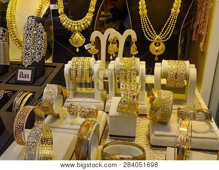 Gold Jewelry In The Display Window