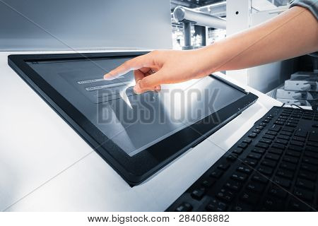 Closeup Of Woman Hand Is Touching Interactive Screen Monitor For Typing Input Username And Password