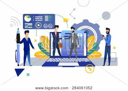 Personnel Department Is Recruiting New Employee. Vector Illustration. Young Man In Suit With Briefca