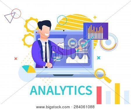 Flat Banner Analytics On White Background. Vector Illustration. Smiling Young Man In Business Suit O