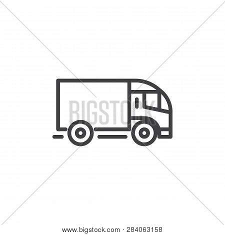Delivery Truck Line Icon. Linear Style Sign For Mobile Concept And Web Design. Truck, Transportation
