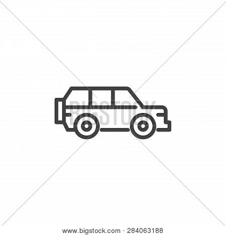 Suv Car Line Icon. Linear Style Sign For Mobile Concept And Web Design. Offroad Auto Outline Vector