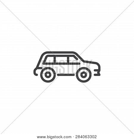 Crossover Car Line Icon. Linear Style Sign For Mobile Concept And Web Design. Transportation Car Out