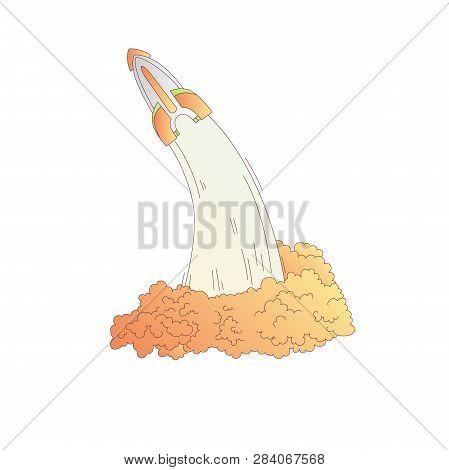 Launching Rockets Vector Cartoon Illustration. Rocket Launch Vector Illustration Icon. Space Shuttle