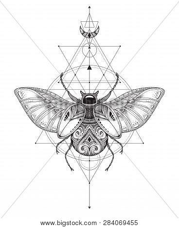 Hand Drawn Vector Esoteric Symbol, Bug With Sacred Geometry.