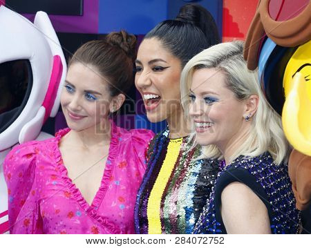Alison Brie, Stephanie Beatriz and Elizabeth Banks at the Los Angeles premiere of 'The Lego Movie 2: The Second Part' held at the Regency Village Theatre in Westwood, USA on February 2, 2019.