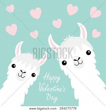 Happy Valentines Day. Llama Alpaca Animal Set. Face Neck. Pink Flying Heart. Cute Cartoon Funny Kawa