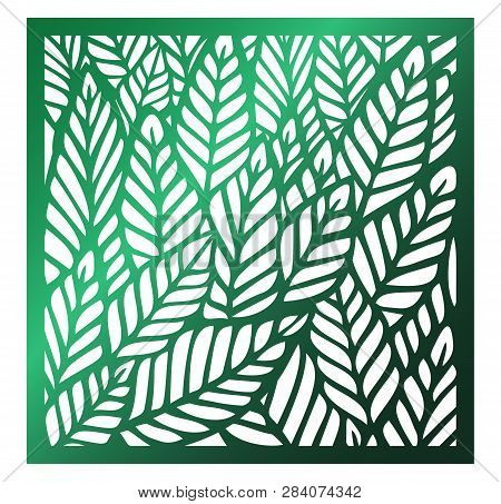 Laser Cutting Square Panel. Openwork Floral Pattern With Tropical Leaves. Perfect For Silhouette Orn