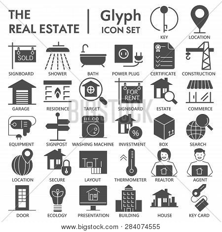 Realestate Glyph Signed Icon Set, House Symbols Collection, Vector Sketches, Logo Illustrations, Ren