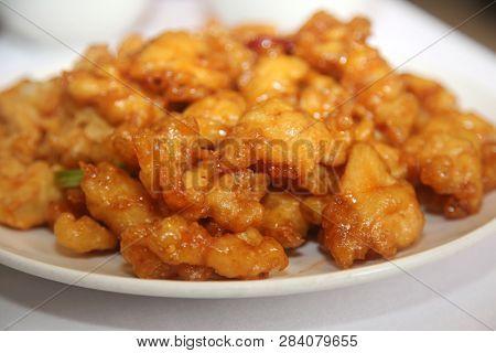 orange chicken. Chinese food orange chicken or sweet and sour chicken.