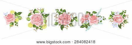 Vector Rose Bouquet, Vintage Floral Decoration. Invite Card Design In Rustic Style. Hand Drawn Water