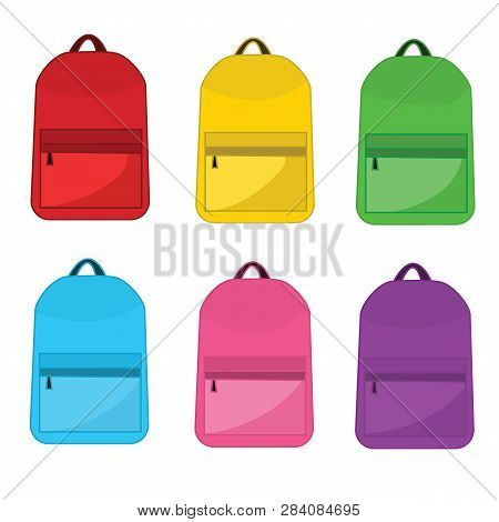 Vector Colorful School Backpacks. Backpacks for schoolchildren, students, travellers and tourists. Back to School rucksack flat vector illustrations isolated on white. poster