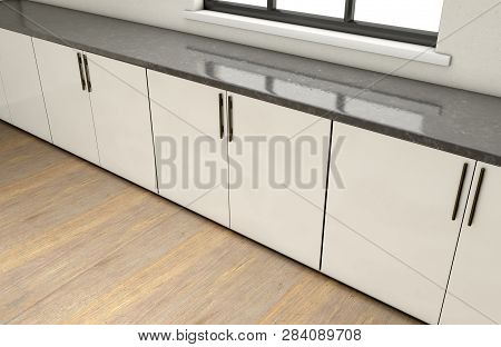 An interior of a very clean empty kitchen with a row of built in cupboards and a clear window - 3D render poster