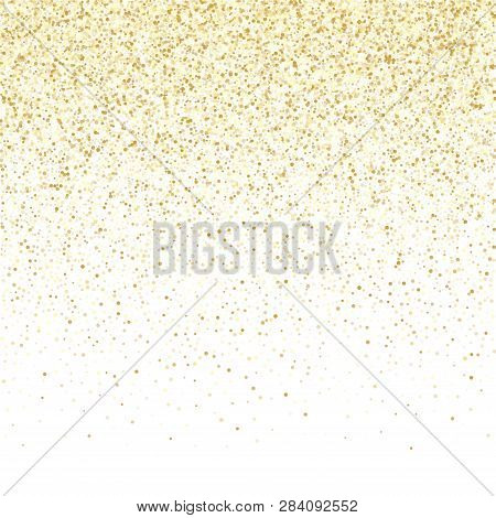poster of Gold sparkles glitter dust metallic confetti vector background. Stylish golden sparkling background. Gold stardust texture tinsel confetti xmas vector. Fashion glitter festive sparkles design