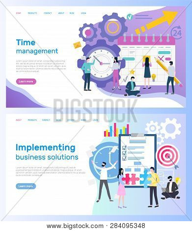 Time Management And Implementing Business Solutions Vector. Calendar And Clock, Organizer And Notepa