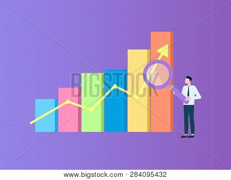 Person Holding Big Magnifier, Flat Colorful Flowchart With Arrow. Man In Suit Standing Near Diagram,
