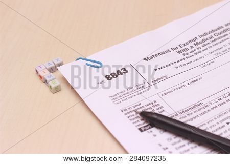 Photo Close Up Of Usa Tax Form Type 8843, Statement For Exempt Individuals And Individuals With A Me