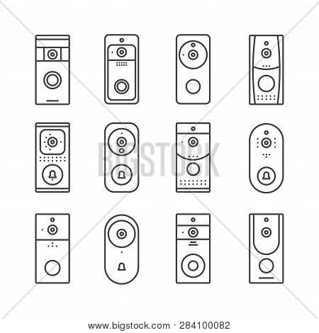 Smart Home Devices, Internet Of Things Set. Remote Doorbell Rings, Appliances For House Or Office. T
