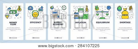 Web Site Onboarding Screens. Economy And Global Finance Markets System. Money Flow, Inflation, Oil P