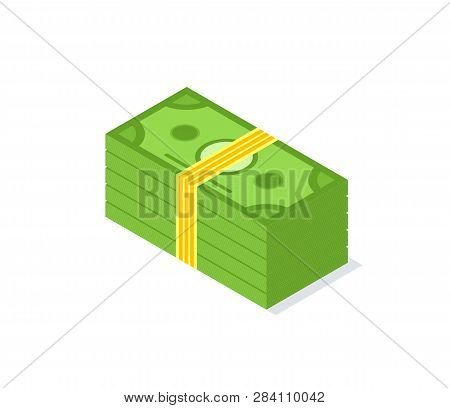 Money Pack With Yellow Ribbon, Stock Of Dollars Isolated On White, Crowdfunding. Finance And Cash, C