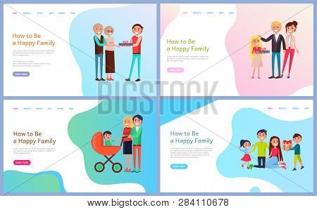 How To Be Happy Family Vector. People With Pram, Parents Giving Child Gift On Holiday, Married Coupl