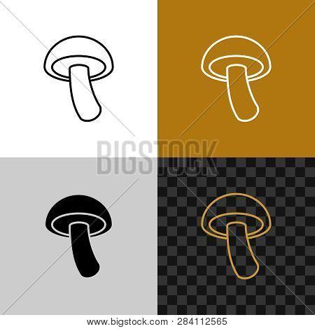 Mushroom Simple Icon. Shiitake Line Style Symbol.