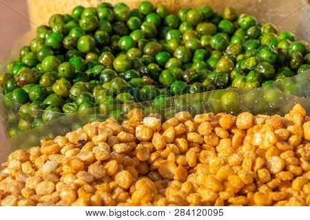 Roasted Green Peas And Channa Dal Close Up View