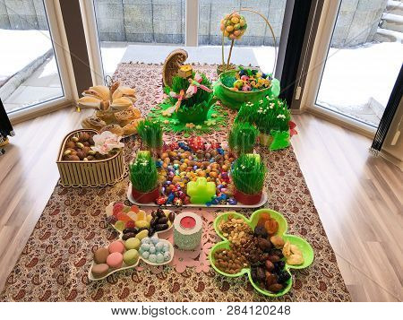 Novruz Setting Table Decoration, Tea In Tulip Shape Glass On Ethnic Motives Rustic Table Cloth With