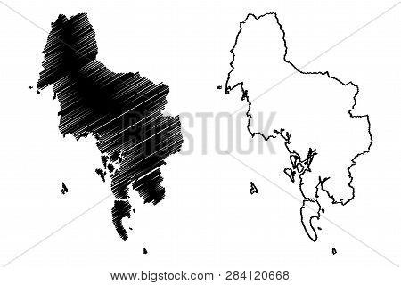 Krabi Province (kingdom Of Thailand, Siam, Provinces Of Thailand) Map Vector Illustration, Scribble