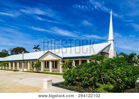 Typical Mormon Church (the Church Of Jesus Christ Of Latter-day Saints) In Rural Oceania. Hihifo Roa