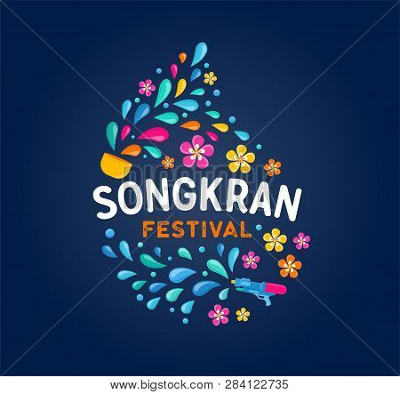 Songkran - Water Festival In Thailand. Thai New Year National Holiday. Colorful Vector Banner And Ba
