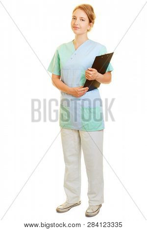 Woman as a nurse or nurse in the smock with clipboard