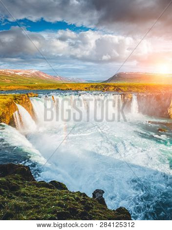 Fabulous scene of powerful Godafoss cascade. Location place Bardardalur valley, Skjalfandafljot river, Iceland, Europe. Scenic image of most popular tourist attraction. Explore the beauty of earth.