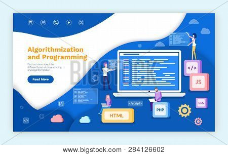 Algorithmization And Programming, People Developing Web Services Vector. Js And Html , Css And Php C