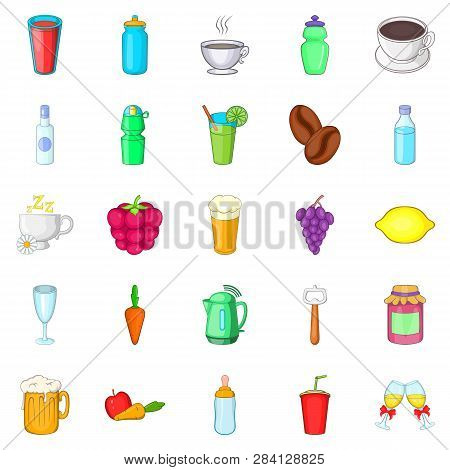 Drunkenness icons set. Cartoon set of 25 drunkenness icons for web isolated on white background poster