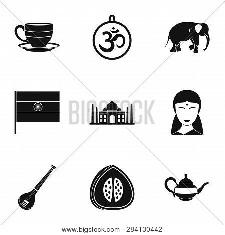 Tourism In India Icon Set. Simple Style Set Of 9 Tourism In India Icons For Web Isolated On White Ba