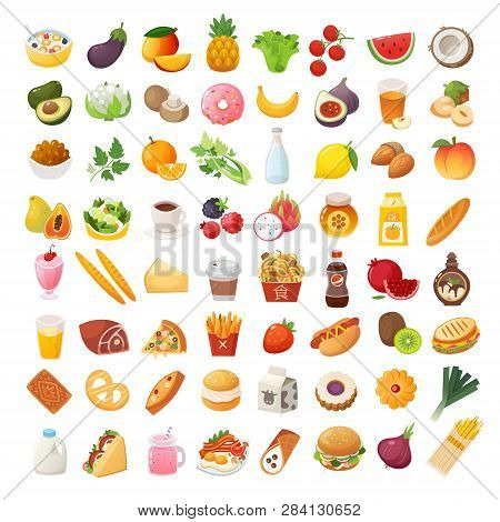 Set Of Colorful Food Icons. Bakery, Dairy Food, Fruit And Vegetables. Desserts Fast Food And Pasta I