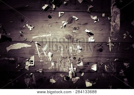 Old Vignette Notice Board With Scraps Of Papers - Abstract Detail