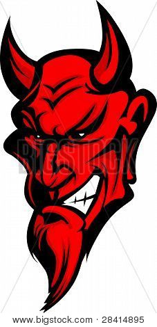 Demon Devil Mascot Head Vector Illustration