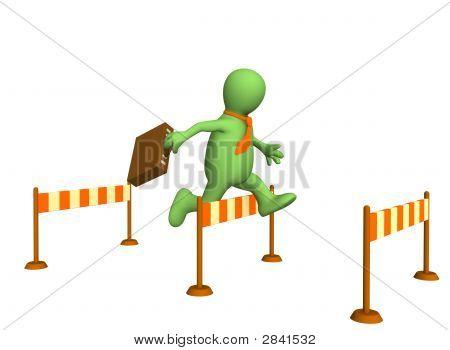3D Businessman - Puppet, Jumping Through A Barrier