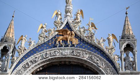 Big Golden Winged Lion In The Basilica Of Saint Mark In Venice Italy