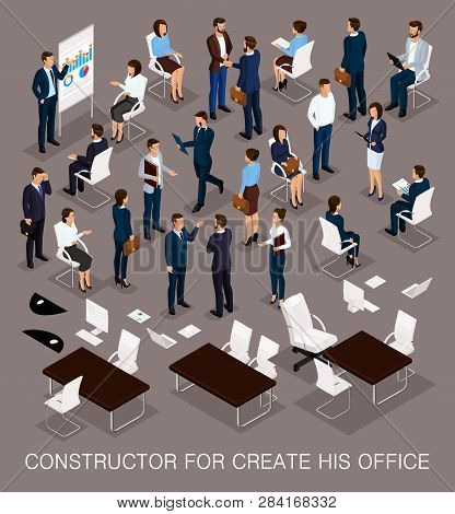 Business People Isometric Set For Creating Your Office With The Men And Women In Corporate Attire Is