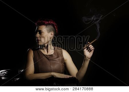 Modern Woman With Fuchsia Hair Holding A Cigar